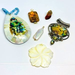 Jewelry - Abalone/Mother of pearl/Stone pendant lot x6 pcs